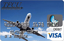 TFCU Visa reloadable card with blue sky and passenger airplane