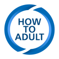 Icon line art that says How to Adult