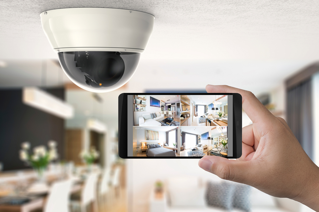 mobile phone showing home video security.